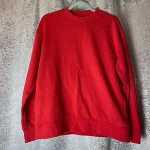 H&M solid Red Pullover Crew neck sweatshirt Medium